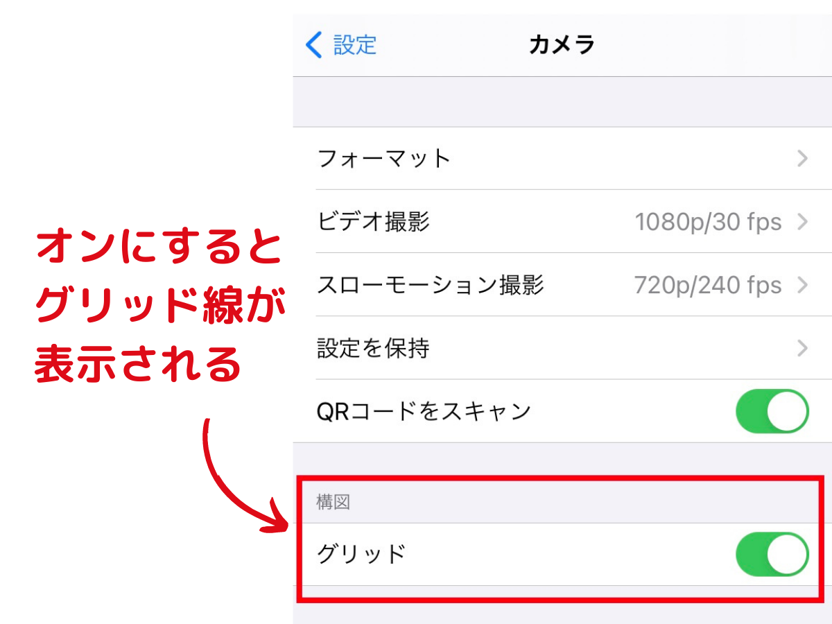 iPhoneのグリッド線の表示設定画面