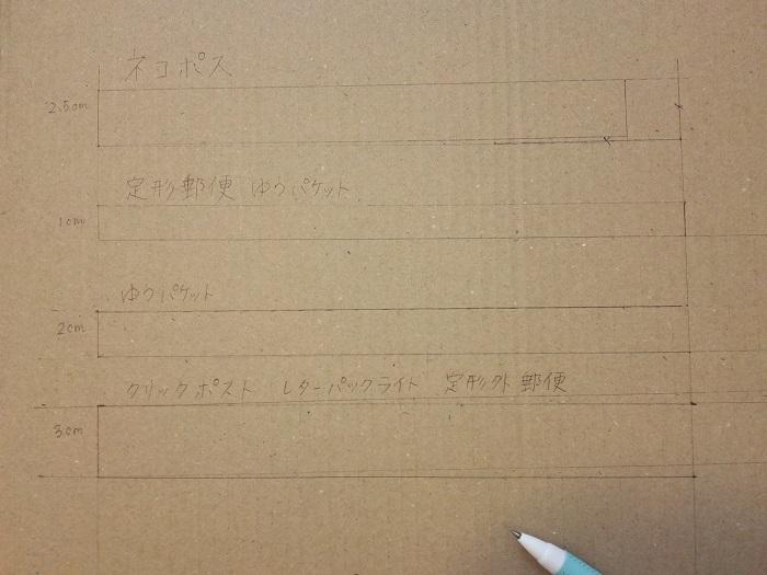 自作の「厚さ測定定規」の下書き