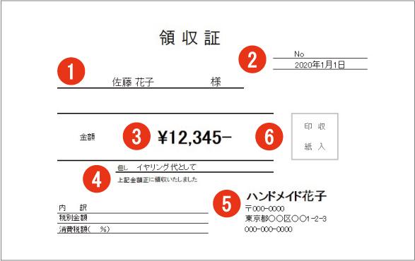 領収書のサンプル