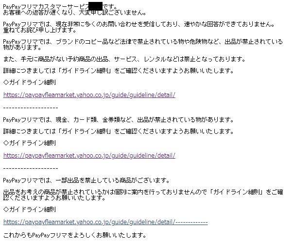 ペイペイフリマカスタマーサポートからの回答メール
