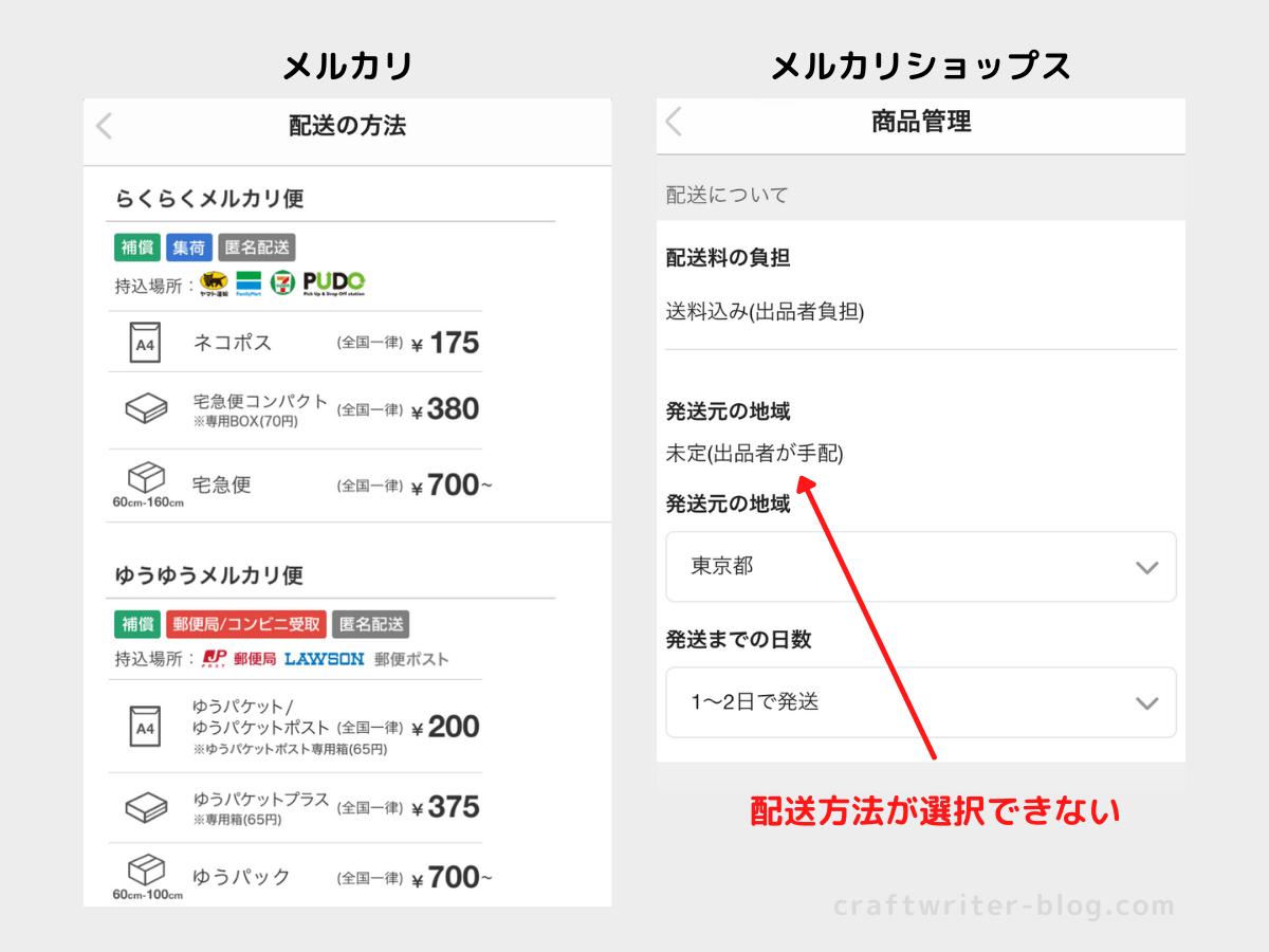 配送方法の選択画面